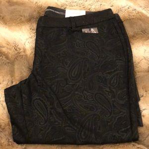 NWT Express Stylist Dress Pants 12 Black Paisley
